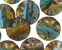 Czech Glass Elements Flower Window Coin 18mm
