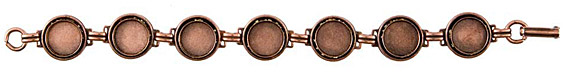 Nunn Design Antique Copper (plated) Small Circle Bezel Bracelet 12mm