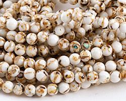 White Mosaic Shell Round 6mm