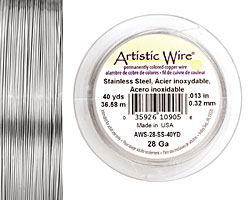 Artistic Wire Stainless Steel 28 gauge, 40 yards