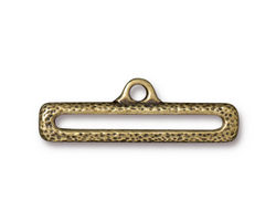 "TierraCast Antique Brass (plated) 1"" Distressed End Bar Link 10x31mm"
