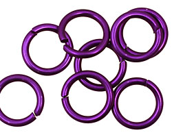 Dark Purple Anodized Aluminum Jump Ring 14mm, 14 gauge (9.6mm inside diameter)