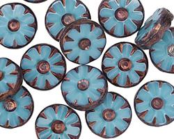 Czech Glass Bronzed Caribbean Blue Flower Window Coin 12mm