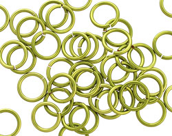 Peridot Enameled Copper Round Jump Ring 8mm, 18 gauge