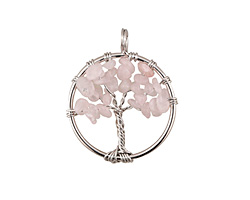 Rose Quartz Silver Finish Wire-Wrapped Tree of Life Pendant 28-29x35mm