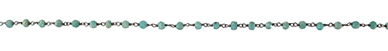 Brazil Amazonite Faceted Rondelle 4mm Antique Silver (plated) Bead Chain