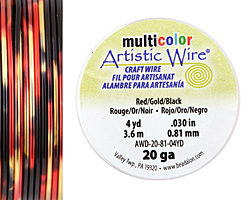 Artistic Wire MultiColor Red/Gold/Black 20 Gauge, 4 Yards
