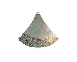 Black Lip Shell Carved Fan Focal 33x30mm