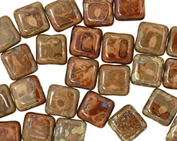 Czech Glass Opaque Beige Picasso Square 9mm