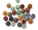 Matte Multi Gemstone (Sodalite, Tiger Eye, Red Jasper, Aventurine) Round (Large Hole) 8mm