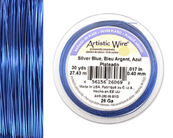 Artistic Wire Silver Plated Silver Blue 26 gauge, 30 yards