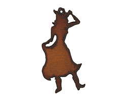The Lipstick Ranch Rusted Iron Cowgirl Pendant 32x68mm