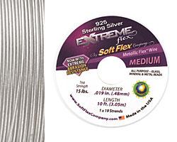 "Soft Flex Extreme Sterling Silver .019"" (Medium) 19 Strand Wire 10ft."
