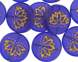 Czech Glass Matte Bronzed Cobalt Lotus Coin 18mm
