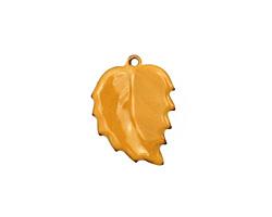 C-Koop Enameled Metal Dark Mustard Leaf 15x20mm