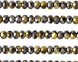 Czech Glass Gold & Hematite Mix Fire Polished Rondelle 3x5mm
