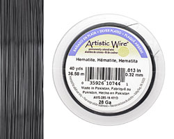 Artistic Wire Silver Plated Hematite 28 gauge, 40 yards