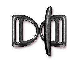 TierraCast Gunmetal Slotted D Ring Clasp Set 17x20mm, 30mm bar