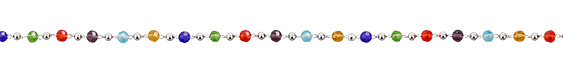 Jewel Tone Crystals Imitation Rhodium (plated) Bead Chain