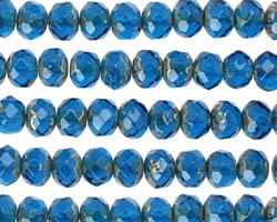 Czech Glass Capri Blue Fire Polished Rondelle 5x7mm