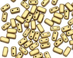 CzechMates Glass Matte Metallic Aztec Gold 2-Hole Brick 3x6mm