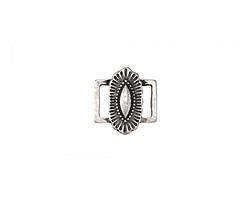 Zola Elements Antique Silver (plated) Southwest Concho Style 7mm Flat Cord Slide Link 14x15mm