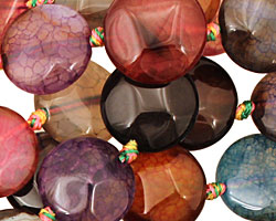 Rainbow Snakeskin Agate Faceted Puff Coin 14mm