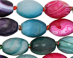 Rainbow Line Agate Faceted Rice 18x13mm