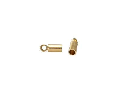 Gold (Plated) 3mm Solid Brass Cord End w/Loop