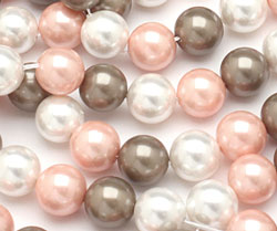 Fawn Shell Pearl Mix Round 10mm