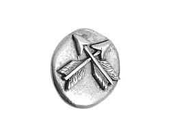 Nunn Design Antique Silver (plated) Round Crossed Arrow Button 17x18mm