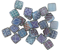 Czech Glass Laser Etched Tapestry on Matte Blue Opal w/ Rainbow Finish 2-Hole Tile 6mm