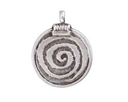 Greek Pewter Spiral Pendant 29x37mm