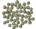 Czech Glass Green Turquoise Picasso w/ Gold Luster Melon Round 4mm