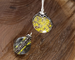 Glass Orb w/ Yellow Flower and Pave Crystals 22mm