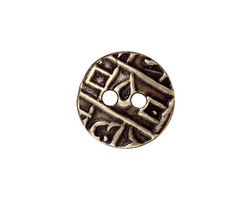 TierraCast Antique Brass (plated) Round Coin Button 18mm