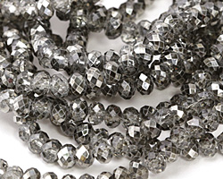 Metallic Hematite (w/ etched facets) Crystal Faceted Rondelle 6mm