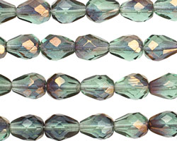 Czech Glass Luster Transparent Teal Faceted Teardrop 9x7mm