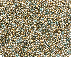 TOHO Gilded Marble Turquoise Round 11/0 Seed Bead