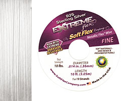 """Soft Flex Extreme Sterling Silver .014"""" (Fine) 19 Strand Wire 10ft."""