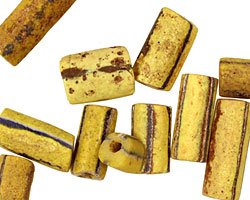 African Trade Bead (yellow w/ navy stipe) Tube 12-30x9-10mm