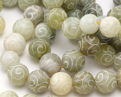 Green Soochow Jade Carved Swirls Round 12mm