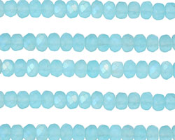 Czech Glass Matte Aquamarine Sky AB Fire Polished Rondelle 3x5mm