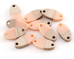 Wood & Angel Pink Resin Oval Focal Link 17x8.5mm