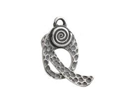 Saki Sterling Silver Spiral Toggle Clasp 23x14mm, 25mm bar