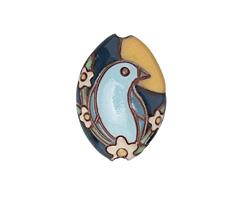 Golem Studio Sunset Bluebird Carved Ceramic Almond 24.5x19.5mm