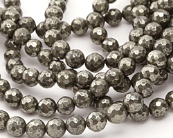 Golden Pyrite (silver tone) Faceted Round 8mm