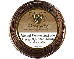 Vintaj Natural Brass Half Round Parawire 21 gauge, 21 feet