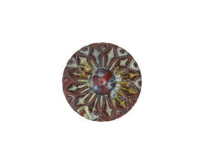 Czech Glass Matte Red Picasso Sunflower Button 19mm