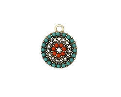 Zola Elements Antique Gold (plated) Beaded Beachy Textured Coin Charm 14x16mm